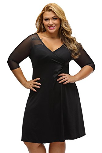 XAKALAKA Women's Sexy V Neck Plus Size Half Sleeves Night Club Dress