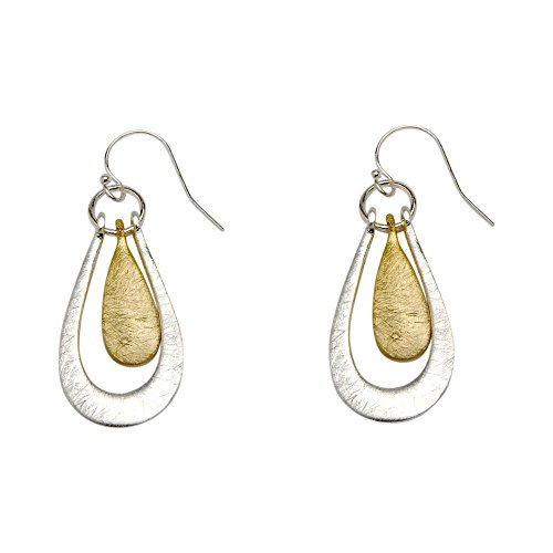 Takobia Women's Scratched Two Tone Silver Plated & Gold Flashed Teardrop Design - .925 Sterling Silver French Wire (Sterling Silver French Wire Earrings)