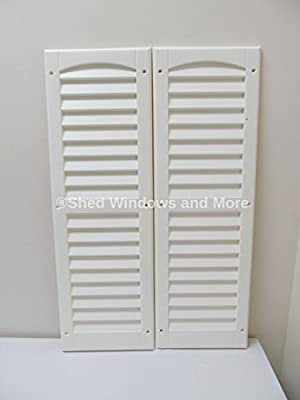 "Louvered Shed Shutter or Playhouse Shutter White 9"" X 27"" Sold By the Pair from Shed Windows and More"