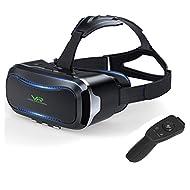 3D VR Lunettes,VR Réalité ,VR Casque,KAMLE Casque de réalité virtuelle 3D VR pour jeux et films-- bandeau réglable pour smartephone 4,0-6,0 pouces for iPhone HTC HUAWEI SONY Samsung Galaxy S5/S6/Note4/note5 S6 et autres smartphones 【Lunettes VR + Manette】