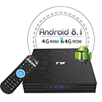 Newest 2018 Version T9 Android 8.1 TV Box with 4GB RAM 64GB ROM RK3328 Quad Core Cortex-A53 Android TV Box Supporting 4K2K Full HD/3D/H.265/WiFi 2.4GHz Smart Set Top Box