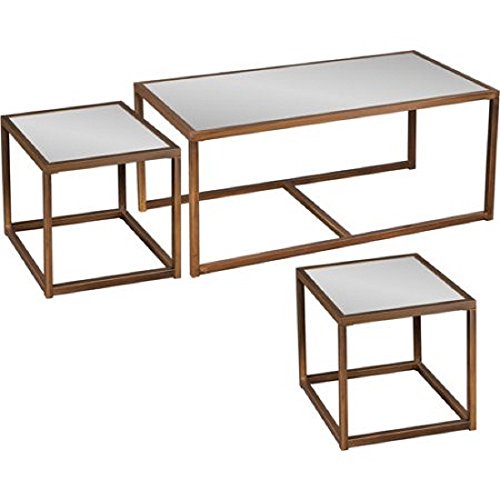 Johannesburg Coffee Table Modern Features: RWY Glass Coffee And End Table 3-Piece Set, Antique Bronze