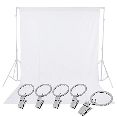 Neewer Photo Studio 6 x 9FT / 1.8 x 2.8M Pure Muslin Collapsible Backdrop with 5-Pack Spring Clamps for Photography,Video and Television(White)