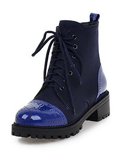 Low Women's Top AgooLar Boots Material Soft Heels Blue Solid Low wXxnn4BqCH