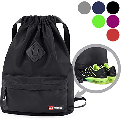 WANDF Drawstring Backpack with Shoe Compartment, Gym Sackpack Cinch Water Resistant Nylon Bag for Shopping Sport Yoga (Black)