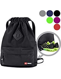 d92df6f73ab4 Drawstring Backpack String Bag Sackpack Cinch Water Resistant Nylon for Gym  Shopping Sport Yoga by WANDF