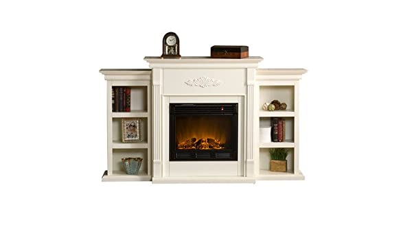 Surprising Amazon Com White Electric Fireplace With Storage Bookcases Download Free Architecture Designs Itiscsunscenecom