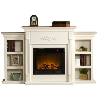 White Electric Fireplace With Storage Bookcases   Antique Ivory   Family  Room Furniture