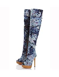 Women's Western Cowboy Mouth Pump Knee Boots