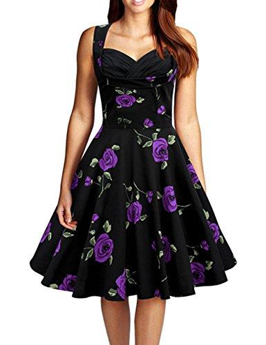 VKStar - Vestido - Noche - Floral - Clásico - Sin mangas - para mujer Rosa Púrpura