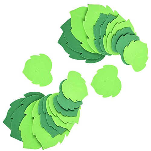 (BCP 24pcs Foam Green Leaf Leaves Greenery Shapes Stickers Craft Art Project for Primary School Classroom Wall Decoration )