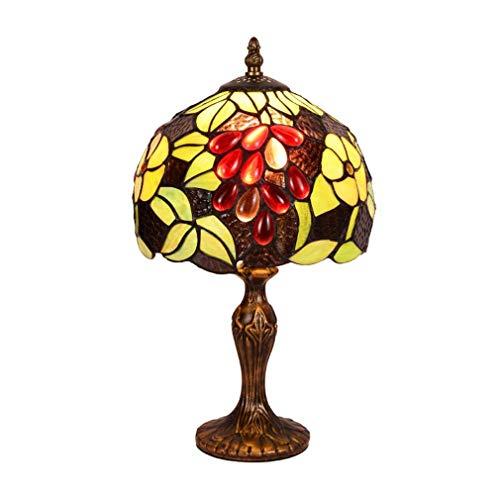 ChuanHan Tiffany Style Desk Lamp/Reading Light, 8-Inch American Antique Grape Decorative Desk Lamp with Zinc Alloy Base, Warm Romantic Bedchamber Table Light, E27, Max40W