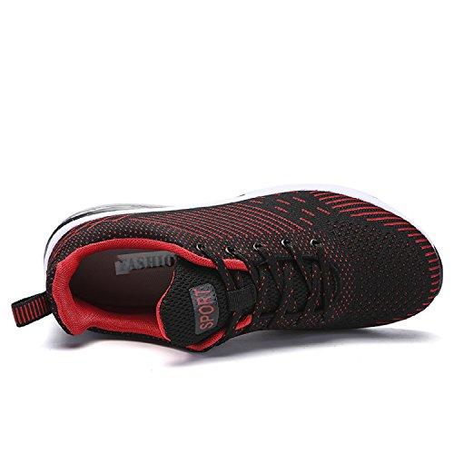 LILY999 Unisex Herren Damen Laufschuhe Atmungsaktives Mesh Gym Turnschuhe Freizeitschuhe Schnürer Sportschuhe Sneakers 34-47 Rot