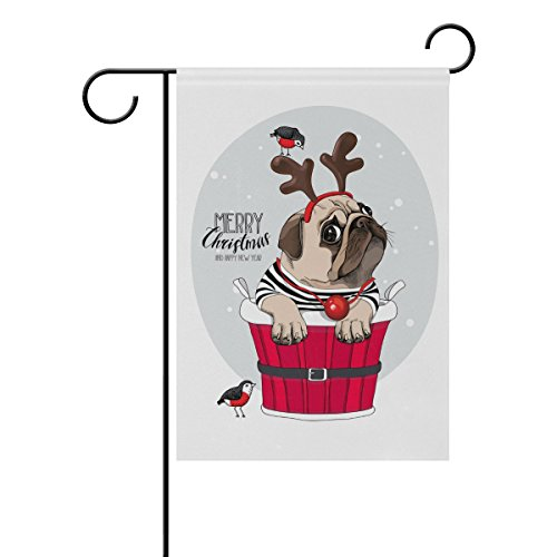 Top Carpenter Christmas Pug Dog In Santa's Deer Mask Double-Sided Printed Garden House Sports Flag - 12x18(in) - 100% Premium Polyester Decorative Flags for Courtyard Garden (Pug Garden)