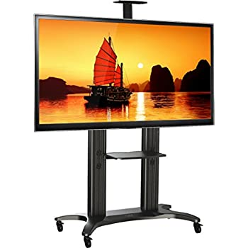 north bayou mobile tv stand heavy duty tv cart for massive lcd led oled flat panel. Black Bedroom Furniture Sets. Home Design Ideas