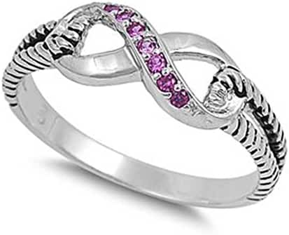 Sterling Silver Infinity Rope Ring with Pink Red Cubic Zirconia Stones