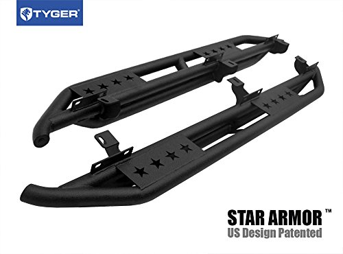 Tyger Auto TG-JA2J2239B Star Armor Kit for 2007-2018 Jeep Wrangler JK 4 Door (Exclude 2018 Wrangler JL Models) | Textured Black | Side Step | Nerf Bars | Running Boards