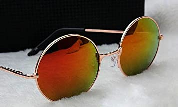 8ea9fb6d639 Image Unavailable. Image not available for. Color  Women s Hippie Shades  Hippy 60 S 70 S Vintage Round Sunglasses (Gold Frame Red Lens)