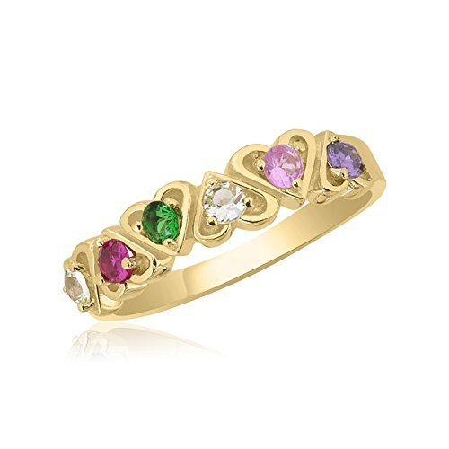 10K Yellow Gold Interlocking Hearts – 6 Birthstone Family Ring