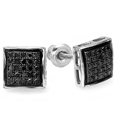 0.25 Carat ctw Black Round Diamond Ladies Mens Unisex Hip Hop Micro Pave Stud Earrings 1 4 CT