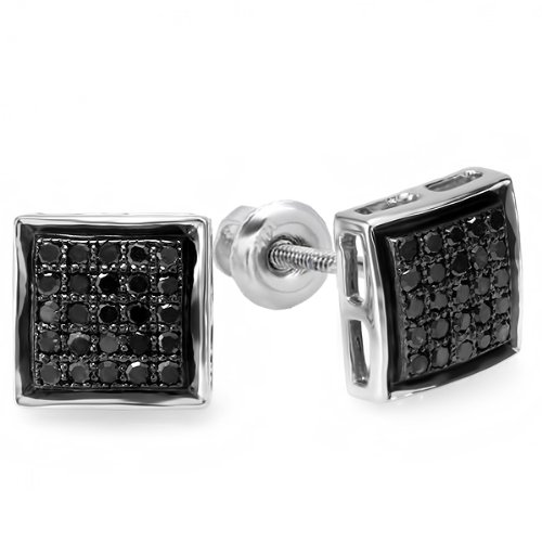 0.25 Carat (ctw) 10K White Gold Black Round Diamond Ladies Mens Unisex Hip Hop Stud Earrings 1/4 CT by DazzlingRock Collection