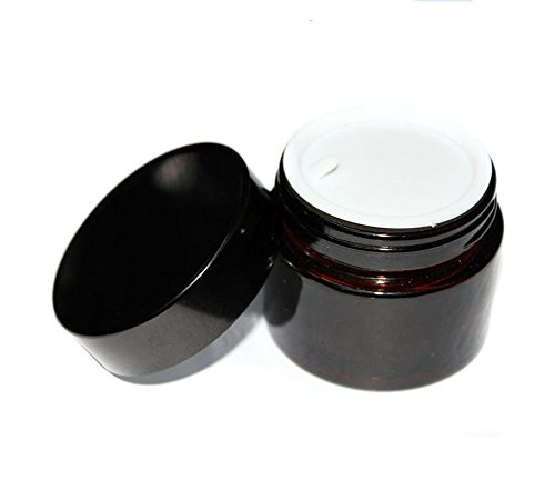 2PCS 100ML Brown Glass Refillable Make Up Jars with Liner...