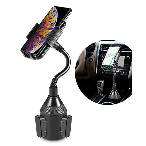 Car Cup Phone Mount, kosiwun Adjustable Gooseneck Cup Car Phone Holder for iPhone Xs/XS MAX/XR/X/8/8Plus/6S/7Plus,Galaxy S6/S8/S9/S10,Google Nexus,Huawei and More