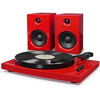 Crosley T100 2-Speed Bluetooth Turntable System with Stereo Speakers, Red