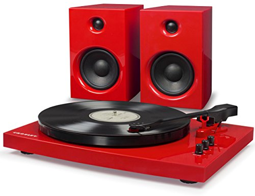 (Crosley T100 2-Speed Bluetooth Turntable System with Stereo Speakers, Red)