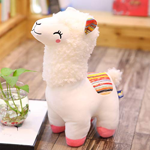BeCol 11 Inches Alpaca Plush Toy, Cute Blushing Alpaca Fabric Llama Stitch Stuffed Doll Soft Animal Toys Birthday Gift Toys (White)