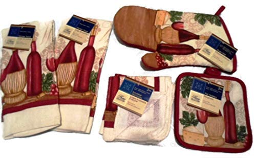 Home Collection Tuscan Wine Theme 7 Piece Kitchen Linen Bundle With 2 Dish Towels, 2 Dish Cloths, 2 Potholders, and 1 Oven Mitt,Red -