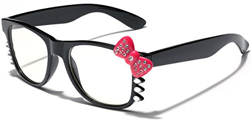 Hello Kitty Bow Women's Rhinestone Fashion Clear Lens Glasses with Bow and Whiskers (Bow Glasses With)