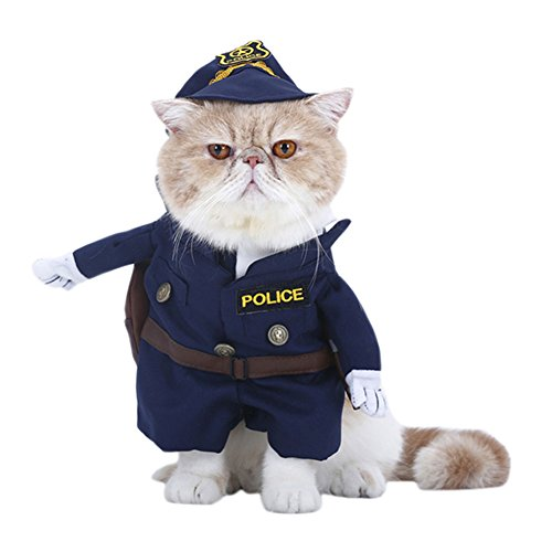 Policeman Costume Outfits with Hat Pet Dog Cat Halloween Costumes The Police for Party Christmas Special Events Costume Uniform with Hat Funny Pet (L)]()