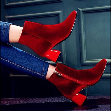 For Boots Boots RTRY Black EU39 Chunky Calf Red Casual Mid Toe Fashion Boots Flocking Shoes CN39 UK6 Green Heel Winter Women'S Square US8 UYwXU6fr