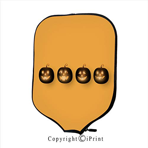 Smooth and Comfortable Zipper 3D Pickleball Paddle Racket Cover Case,Dark Cute Halloween Pumpkins Isolated on Orange backgro(Size:8.23