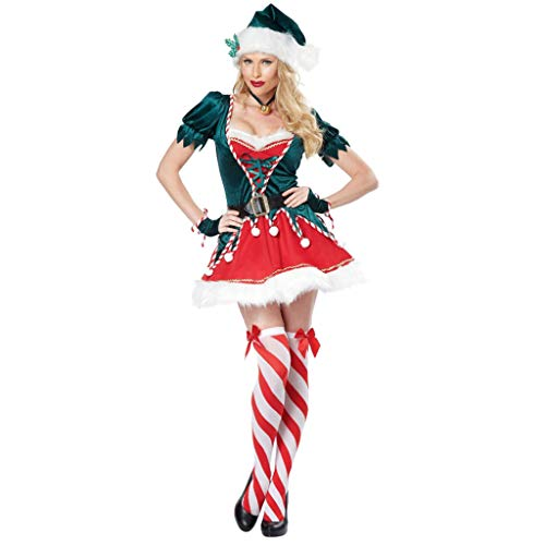RENYAFEI Santa Claus Costume, Ladies Sexy Christmas Dress Includes Hat, Belt, Fake Two-Piece Top, Elastic Half Skirt, Gloves for Xmas Cosplay Deluxe Velvet Costume Outfit,L