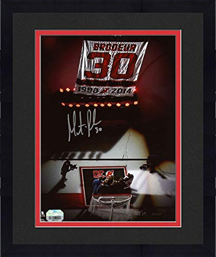 """Framed Martin Brodeur New Jersey Devils Autographed 8"""" x 10"""" Jersey Retirement Night Banner Raising Photograph - Fanatics Authentic Certified"""