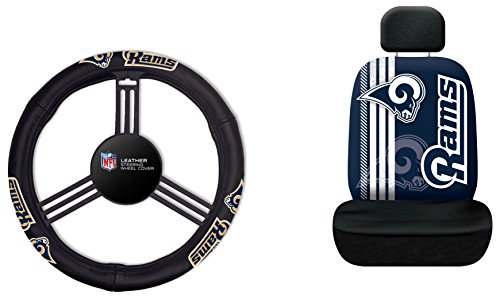 Fremont Die NFL Los Angeles Rams Rally Seat Cover with Leather Steering Wheel Cover, One Size, Black