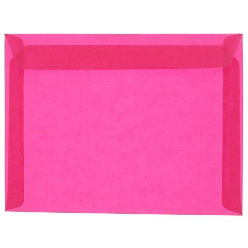JAM PAPER 9 x 12 Booklet Translucent Vellum Envelopes - Magenta Pink - 25/Pack (Pink Translucent Vellum Envelope)