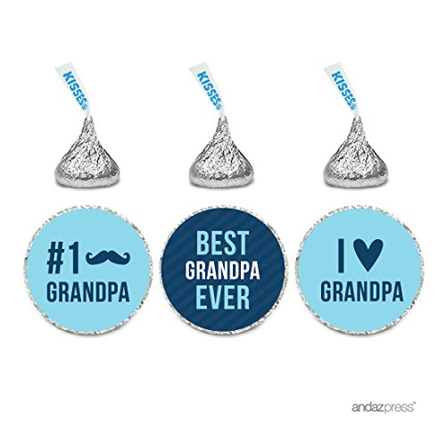 Andaz Press Chocolate Drop Labels Trio, Fits Hershey's Kisses, Happy Father's Day Grandpa, 216-Pack, For Grandfather Birthday Gifts