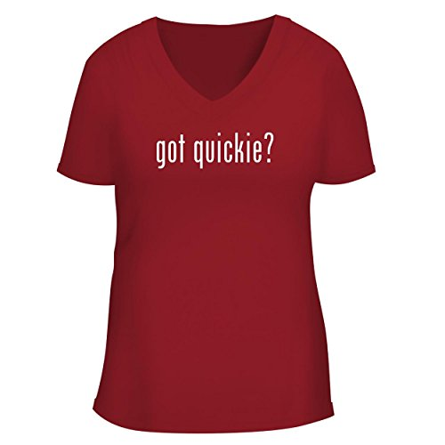 - got Quickie? - Cute Women's V Neck Graphic Tee, Red, Large