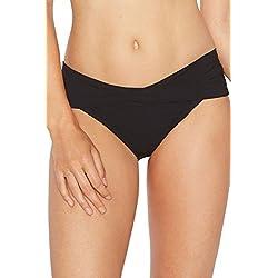 Robin Piccone Women's Ava Twist Bikini Bottom, Black, L