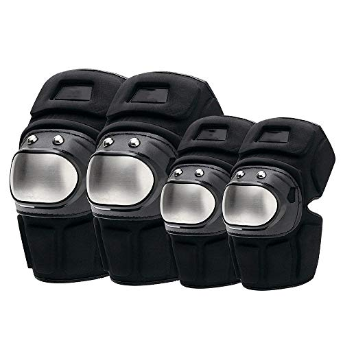 - Motorcycle knee pads and elbow pads,Off-Road Motorcycle Stainless Steel Protective Gear, Roller Skating, Skateboarding, Sports Knee Pads, Elbow Pads, 4-Piece Suit, Shockproof and Anti-Fall