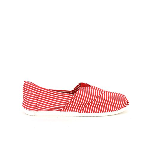 Rouge À White Cendriyon Chaussures Red And Femme Rayures Slippers r5qwUSwxp8