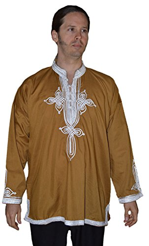 Marrakesh Men Tunic Caftan With White Tread Embroidery Breathable X-large Brown
