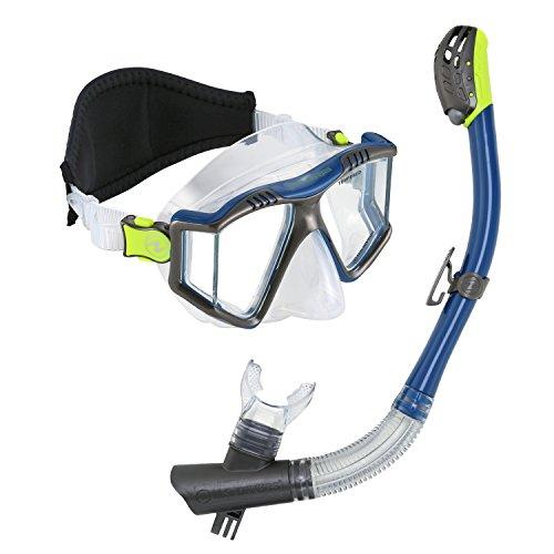 - U.S. Divers Lux Purge Mask Phoenix Go Pro Snorkel Combo, Dark Matter