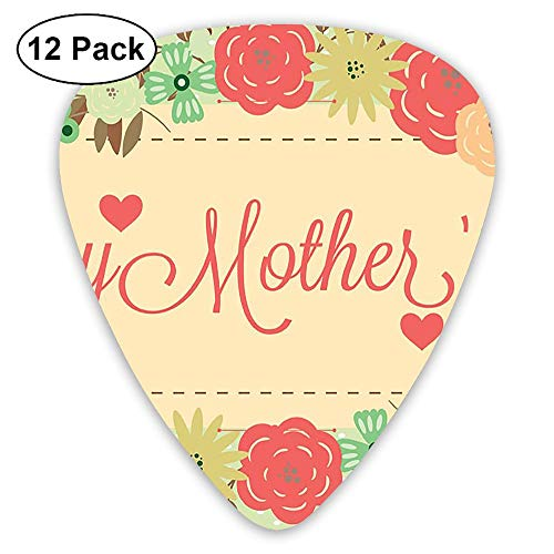 12-Pack Fashion Classic Electric Guitar Picks Plectrums Mothers Day Pattern Instrument Standard Bass Guitarist