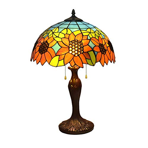 24 Inches Tall Tiffany Style Lamps Sunflower Table Desk Light Stained Glass 16 Inches Wide Lamp Shade Vintage Unique Victorian Lamp for Living Bedside Coffee Room College Dorm