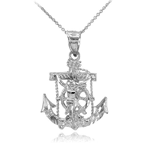 - 14k White Gold Mariner's Cross with Crucifix Pendant Necklace, 22