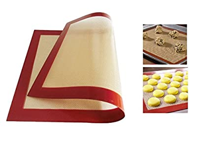 "Professional Non-Stick Silicone Baking Mat - Silicone Baking Pad/Mat for Macaron Pastry Bread Making, Beige(16.5"" * 11"")"